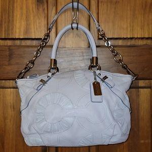 Coach Madison Embellished Leather Op Art Shoulder Bag Satchel 16356 Gray